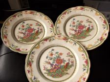 3 X RARE VINTAGE TAMS POTTERY PLATES CHINESE BLOSSOMS & EXOTIC BIRDS 10""
